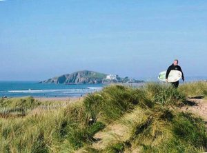 Bantham beach dunes with a view of Burgh Island