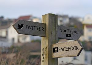 Bantham signpost with social media icons